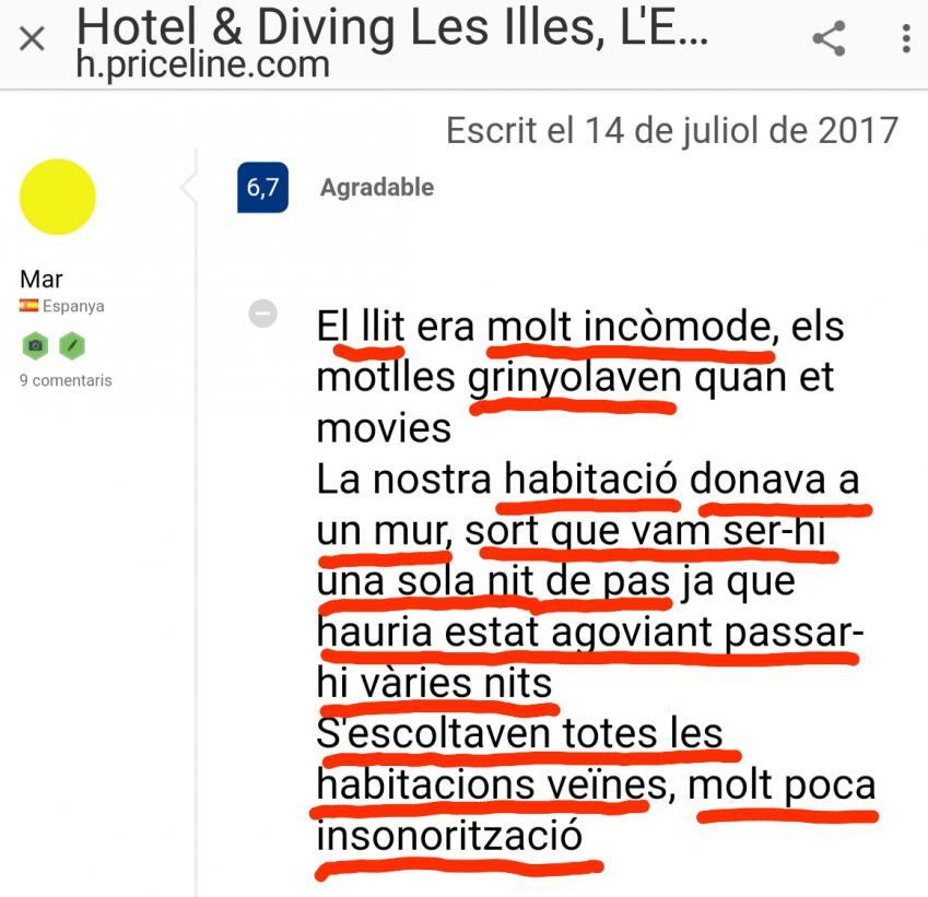Hotel les illes estartit habitacion room